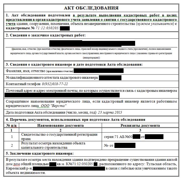 перечень документов для акта обследования